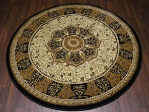 Woven Backed Circle Ivory/Black Traditional Carved Rug 150cm x 150cm Circular Top Quality